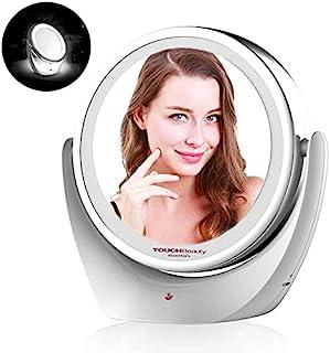 TOUCHBeauty 可充电 LED 镜子 4.5 英寸双面 1 倍和 5 倍放大桌面镜带 360 度旋转镜子 TB-1276