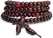 Origin 暹罗手工串珠玛拉缠绕手链   藏式 108 祈祷咒语 天然木珠   弹性项链腕带   幸运、爱、冥想、保护   男女通用