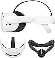 Esimen K3 Elite Strap 适用于 Oculus Quest 2 头靠垫 带面罩替换头带,舒适防护头带,减少压力(白色+黑色)