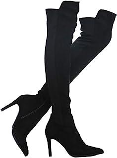 Shoe'N Tale 女士仿麂皮粗跟弹力过膝长筒靴