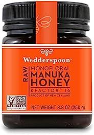 Wedderspoon Raw Premium麥盧卡蜂蜜 KFactor 16+,未經巴氏殺菌,純正新西蘭蜂蜜,多功能,Non-GMO Superfood,8.8盎司/250克