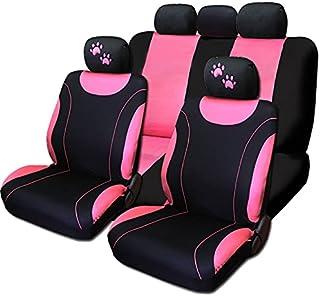 新款粉色平布前后汽车座椅套,带刺绣爪头靠枕套
