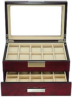 TIMELYBUYS 20 樱桃木手表盒展示盒 2 层储物首饰收纳盒,带玻璃顶部、不锈钢装饰和抽屉