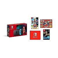 任天堂 Nintendo Switch主机 Joy-Con(L)霓虹蓝/(R)霓虹红(电池持续时间长后的款) &【任天堂许可商品】Nintendo Switch*液晶保护膜 多功能&*马里奥 3D收藏 -Switch (Amazon.co.jp限定) 马里奥贴纸(A5尺寸)&Nintendo Switch 标志设计 微纤维布 同捆)