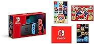 任天堂 Nintendo Switch主机 Joy-Con(L)霓虹蓝/(R)霓虹红(电池持续时间长后的款) &【任天堂许可商品】Nintendo Switch*液晶保护膜 多功能&*马里奥 3D收藏 -
