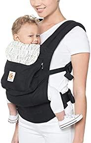 Ergobaby Ergobaby 符合人体工程学 多位置原装婴儿背带(7-45 磅),黑色/白色