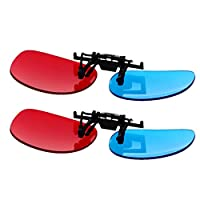 Othmro 夾式眼鏡紅色藍色Anaglyph 3D 無框樹脂鏡頭近視夾 - 3 套簡單風格 3D 電影游戲 2 件