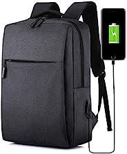 笔记本电脑背包,带 USB 充电端口 15.6 英寸电脑商务背包,适合女士、男士、大学学生礼物、书包、休闲徒步背包(黑色)
