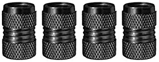 PandaTech 4 件套太空黑色气门盖由铝合金制成,带 O 橡胶环,通用阀杆盖适用于汽车,SUV,自行车和自行车,卡车,摩托车,密封防尘