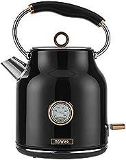 Tower Bottega T10020 传统水壶,带温度刻度盘,快速煮沸,烧干保护,自动断电,静音煮沸,不锈钢,3000 W,1.7升,黑色和玫瑰金