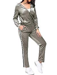 TrendyCosmo 女式运动服,2 件套天鹅绒条纹拉链连帽运动衫和裤子套装