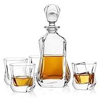 JoyJolt Aurora 5 件套水晶威士忌*器套装,* 无铅水晶*吧套装,水晶*器套装含一个 Scotch Decanter-25.3 盎司和 4 套老式威士忌玻璃 - 236.8 克
