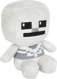 JINX 我的世界迷你工匠骷髅毛绒填充玩具,灰色,4.5 英寸高