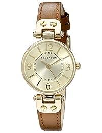 Anne Klein 10/9442 女士皮革表带手表,Honey/Gold,均码