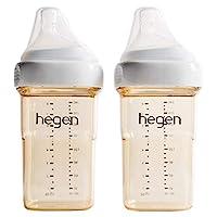 Hegen 嬰兒奶瓶–防脹氣寬口徑奶瓶-母親乳液喂養系統 8盎司/約236.59ml,中速奶嘴(2件)