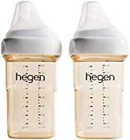 Hegen 婴儿奶瓶–防胀气宽口径奶瓶-母亲乳液喂养系统 8盎司/约236.59ml,中速奶嘴(2件)