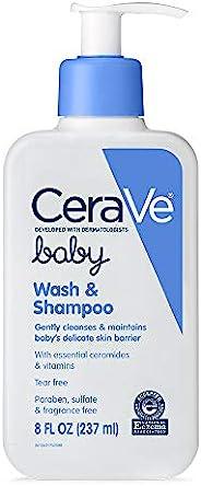 CeraVe 婴儿洗发沐浴二合一| 8盎司/237毫升| 无香精,对羟基苯甲酸酯和硫酸盐,无泪成分,沐浴用