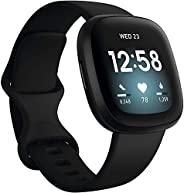 Fitbit Versa 3 *健身智能手表 W / 蓝牙通话 / 短信,快速充电,GPS,心率 SpO2,6 天以上电池(S & L 频段,90 天高级)国际版