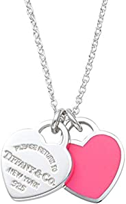 [Tiffany 蒂芙尼] 925纯银 纯银×亮粉珐琅涂层 RTT 迷你 两个心形吊牌 吊坠 项链 41~46厘米 63520578 亮粉色