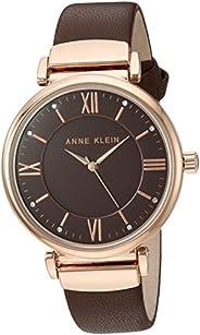 Anne Klein 女士手表 AK/2666RGBN 施华洛世奇水晶点缀 玫瑰金色调 棕色皮革表带