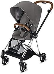 Cybex Mios 2 完整婴儿车,单手折叠,双面座椅,平稳骑行全轮悬架,额外存储,可调节腿托,曼哈顿灰色座椅带铬黄/棕色框架