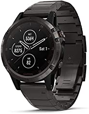 Garmin fēnix5 Plus 帶GPS 的優質綜合運動型智能手表,包含功能性色拓地圖,支持心率監測,播放音樂和付款,碳灰色鈦