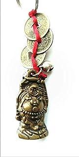 DevDeep Fengshui 红色中国结 3 个硬币,带笑的佛陀钥匙圈/钥匙链/流苏,将 3 个重幸福带到您的家中。