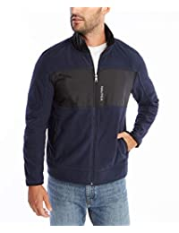 Nautica 男士全拉链企领羊毛运动衫