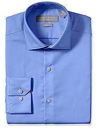 PERRY Ellis 男式修身性能 COMFORT 领纯色正装衬衫