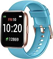 Letsfit 智能手表 适用于 Android 手机 兼容 iPhone 三星 健身追踪器 带血氧饱和度和心率监测器 IP68 防水有氧运动手表 适合女士男士,蓝色