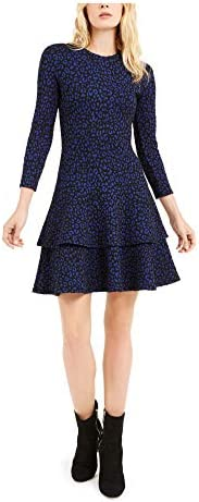 Michael Kors 迈克·科尔斯 女式蓝色印花长袖宝石领短款喇叭裙 L 码