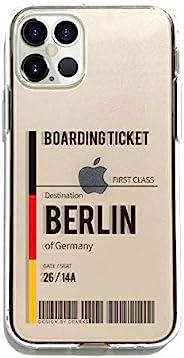 Dparks iPhone 12 Pro Max 透明手机壳 [ 行李标签 飞机 手行李 标签软质 防粘痕 TPU Qi充电 无线充电 苹果手机 12 Pro Max 手机套 ] 软透明手机壳 BERLIN DS1984