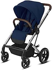 CYBEX Balios S Lux 婴儿推车,正面或父母座椅位置,单手折叠,多位置倾斜,可调节人造革车把,婴儿推车(适用6个月以上的宝宝),藏青色