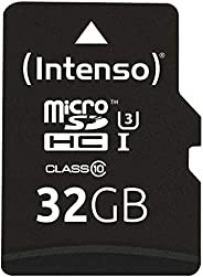 Intenso Professional microSDHC UHS-I Class 10 32GB 存储卡 包括 SD 适配器(高达 90Mbps)黑色