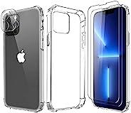 KAPUCTW 手机壳适用于 iPhone 13 Pro Max 6.7 英寸 + 2 x 屏幕保护膜钢化玻璃+ 1 x 镜头保护膜,软硅胶透明手机壳防震防刮 TPU 保护套适用于 iPhone 13 ProMax