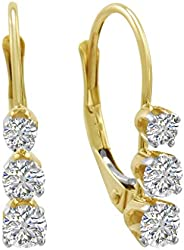 AGS 认证1/2克拉 TW 钻石 leverback 耳环14K 白金或黄金
