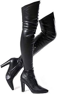 Shoe'N Tale 女士弹力绒面革粗跟过膝靴
