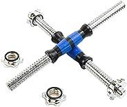 Rowland Harbor 螺纹哑铃蓝色耐用橡胶手柄/可调节哑铃杆手柄 32/35/40 厘米(12.6/14.2/15.7 英寸)- 适合 1 英寸标准重量板举重配件 - 成对出售