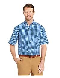 Arrow 1851 男式 Hamilton 府綢短袖系扣格子襯衫