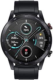Honor 荣耀 MagicWatch 2 46 毫米智能手表,健身活动追踪器带心率和压力监视器,练习模式,跑步应用程序和内置扬声器和麦克风,黑色 / 煤黑色