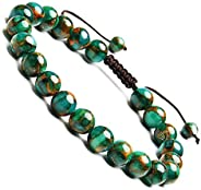 BONNY BOXX 8 毫米天然宝石能量手链,男女皆宜,编织绳半珍贵水晶石英手链,***玛瑙手链