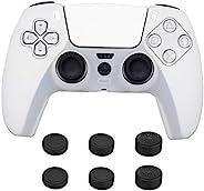 NexiGo PS5 控制器手柄套,防滑硅胶皮肤,控制器保护套保护套,带 6 个模拟拇指手柄,适用于 PS5 DualSense 无线控制器,白色