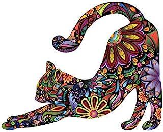 猫墙贴独特多彩曼陀罗花图案设计贴纸(1 件大号)可爱可爱动物墙贴艺术装饰客厅婴儿房卧室卫生间墙壁 DIY 装饰