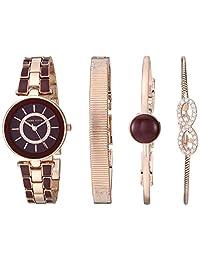 ANNE KLEIN 女式施华洛世奇水晶手表和手镯套装,Burgundy/Rose Gold,AK/3286BYST