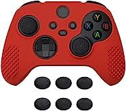 eXtremeRate PlayVital Passion 红色 3D 铆钉版防滑硅胶保护套适用于 Xbox 系列 X/S 控制器,橡胶保护套保护套适用于 Xbox 系列 X/S 控制器,带 6 个黑色拇指抓握盖