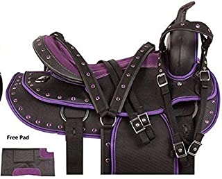 Deen, Enterprises 合成西马鞍头饰获得配套的头垫 + 胸领和鞍垫尺寸 - 43.18 厘米座椅可选