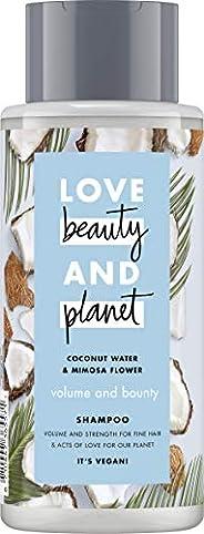Love Beauty & Planet 花漾星球 丰盈洗发水, 无硅油, 椰子水 & 含羞草花