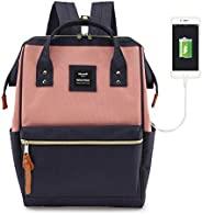 HKS-HOMME 笔记本电脑背包 15 英寸旅行学校背包,带 USB 充电端口,适合学生 *蓝+粉色 USB- Regular