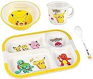 Pokemon 精灵宝可梦 皮卡丘 餐具餐具套装 适合男孩女孩幼儿儿童 – 盘碗杯勺,4 件黄色