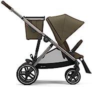 Cybex Gazelle S 模块化双人婴儿推车,适用于婴儿和幼儿,包括可拆卸的购物篮,超过20种配置,可折叠平放,易于存放,经典米色